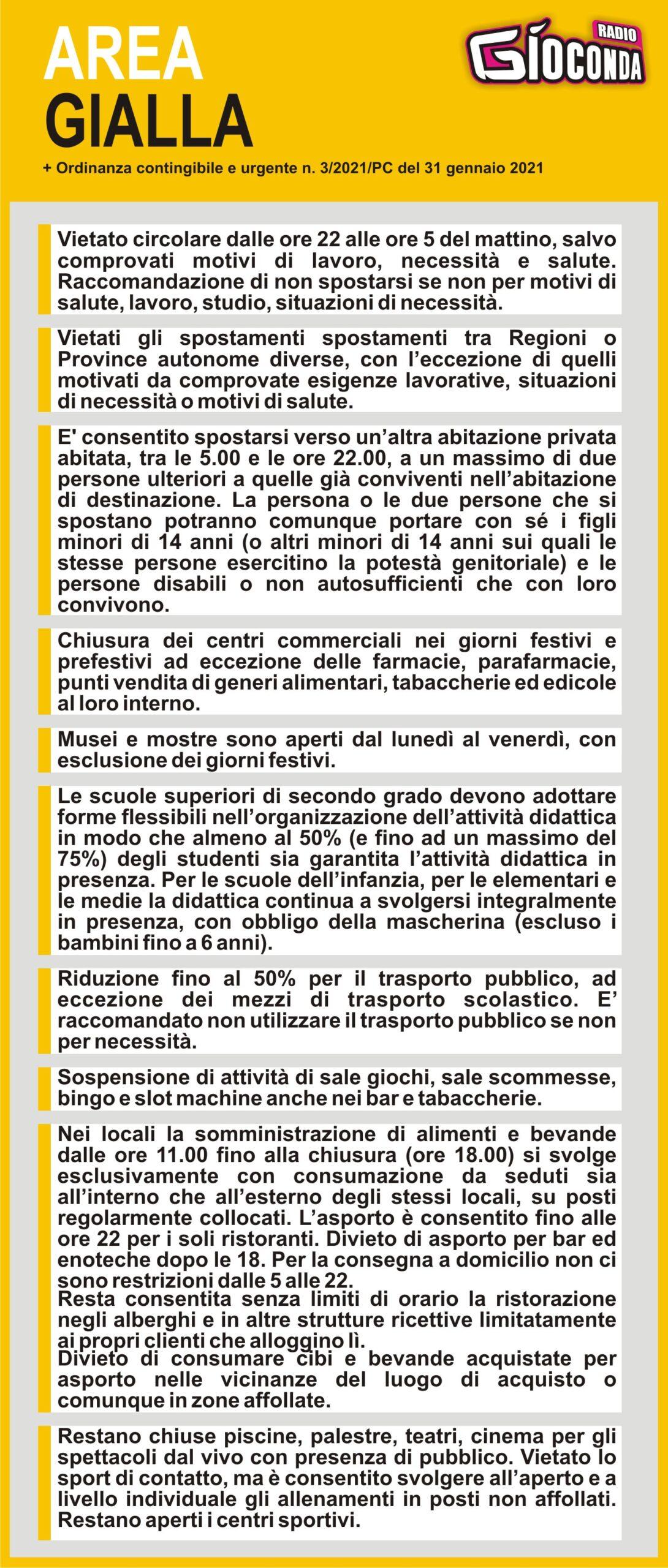 Il Friuli Venezia Giulia è AREA GIALLA + ordinanza del 31 gennaio